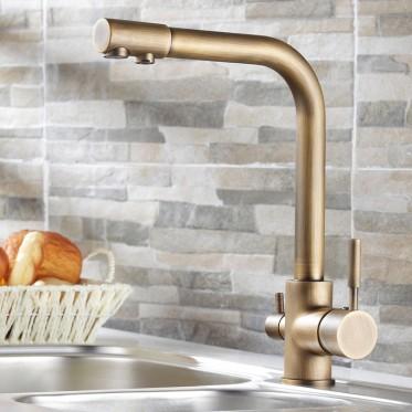 Stev Antique Brass Kitchen Faucet | Photo Source: Homary.com