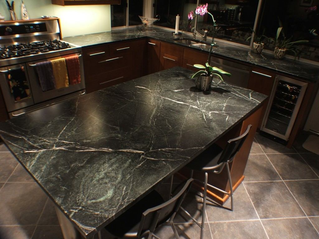Dark kitchen with soapstone countertop | Photo Source: virginiawhalen.com