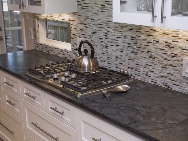 Black & white kitchen with natural soapstone countertop | Photo Source: Premier Surfaces