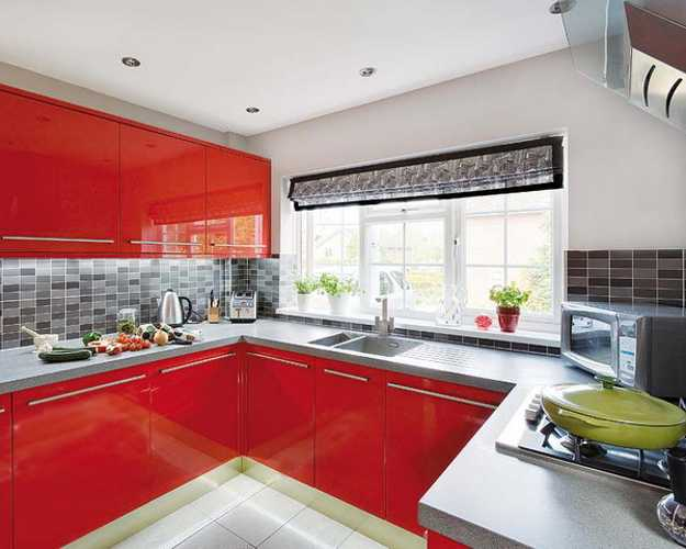An Intense And Bold Hue Kitchen Decor