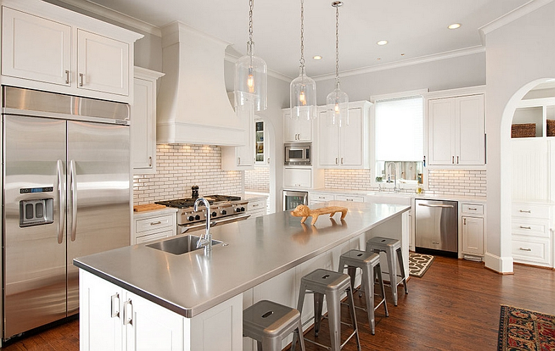 White Kitchen With Stainless Steel Island Countertop. | Photo Source:  Decoist.com