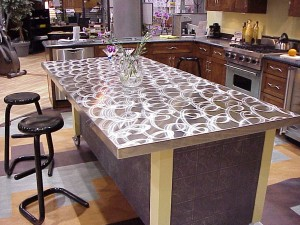 Patterned stainless steel countertop. | Photo Source: Eskay Metal Fabricating