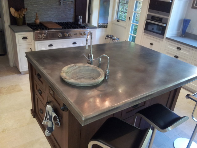 Zinc countertop on kitchen island. | Photo Source: www.finedesignfabrication.com