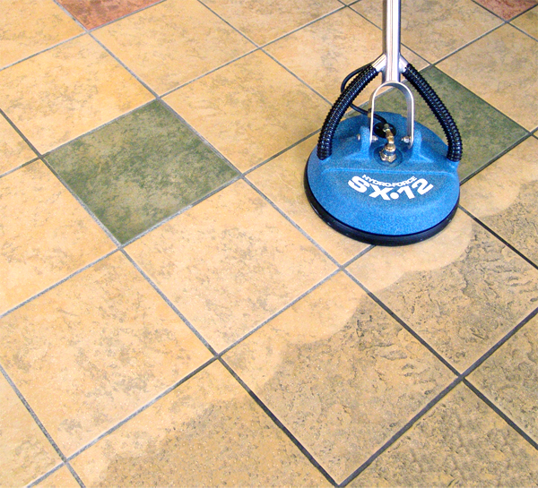Tile floor cleaning machines