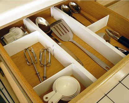 For an efficient kitchen, using drawer dividers for organization is key. | Photo Source: Organizeit.com