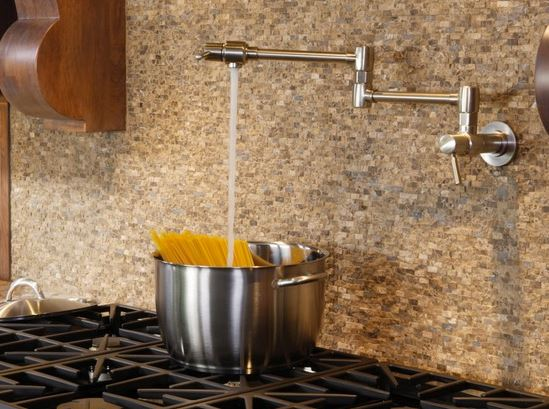 Pot fillers are a great convenience for the avid chef. | Photo Source: Faucet Depot