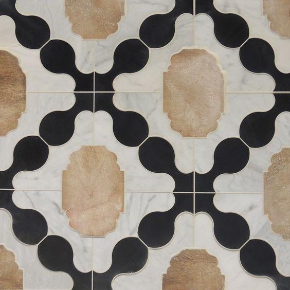 Tabarka Studio's Petite Alliance 3 stone tile features calacatta marble, terracotta, & noire limestone. | Photo Source: Tabarka Studio