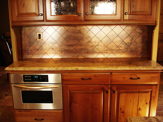 Tiled Copper Backsplash Photo Source Colorcopper Com