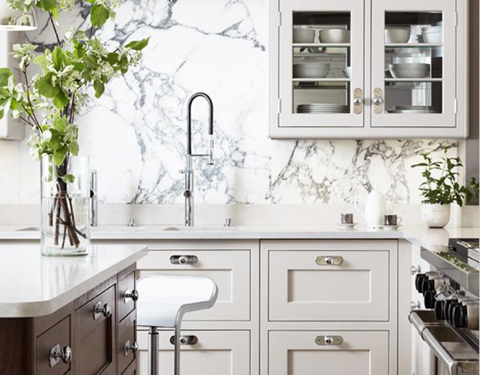 Marble Slab Backsplash | Photo Source: Dina Holland Interiors
