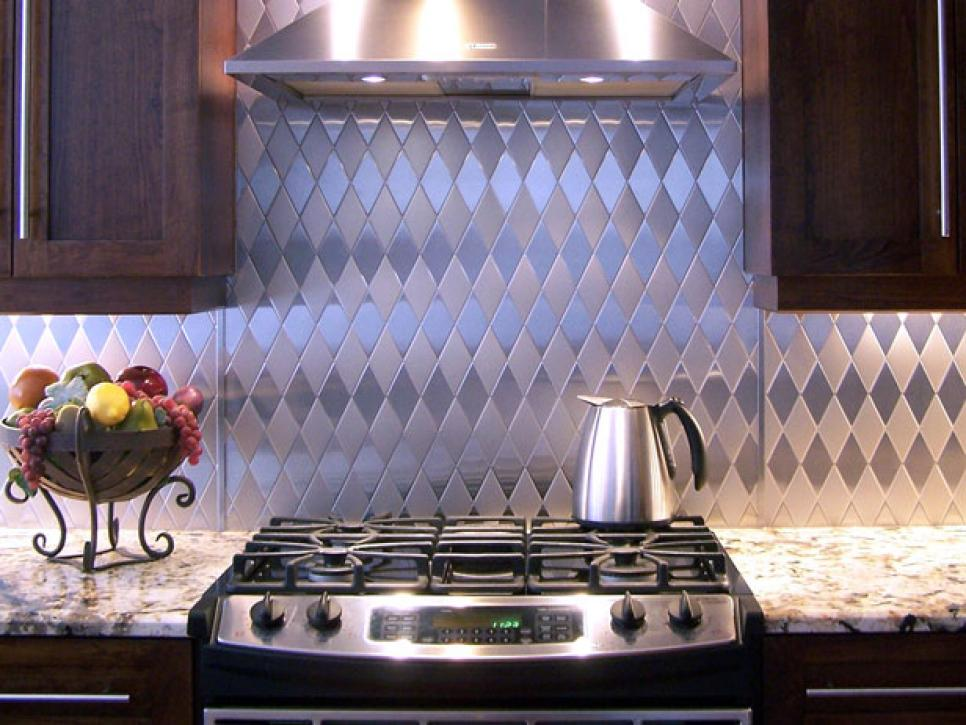 Alternating Brushed U0026 Polished Stainless Steel Diagonal Backsplash Pattern.  Photo Source: HGTV | Photo