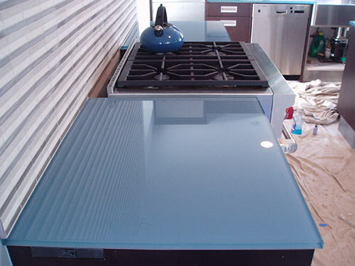Good Blue Back Painted Glass Countertop. | Photo Source: Brooks Custom
