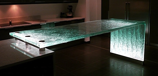 Textured glass countertop with waterfall edge and LED lighting. | Photo  Source: usilluminations.