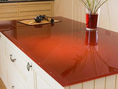 Red painted glass countertop | Photo Source: dighousedesign.com