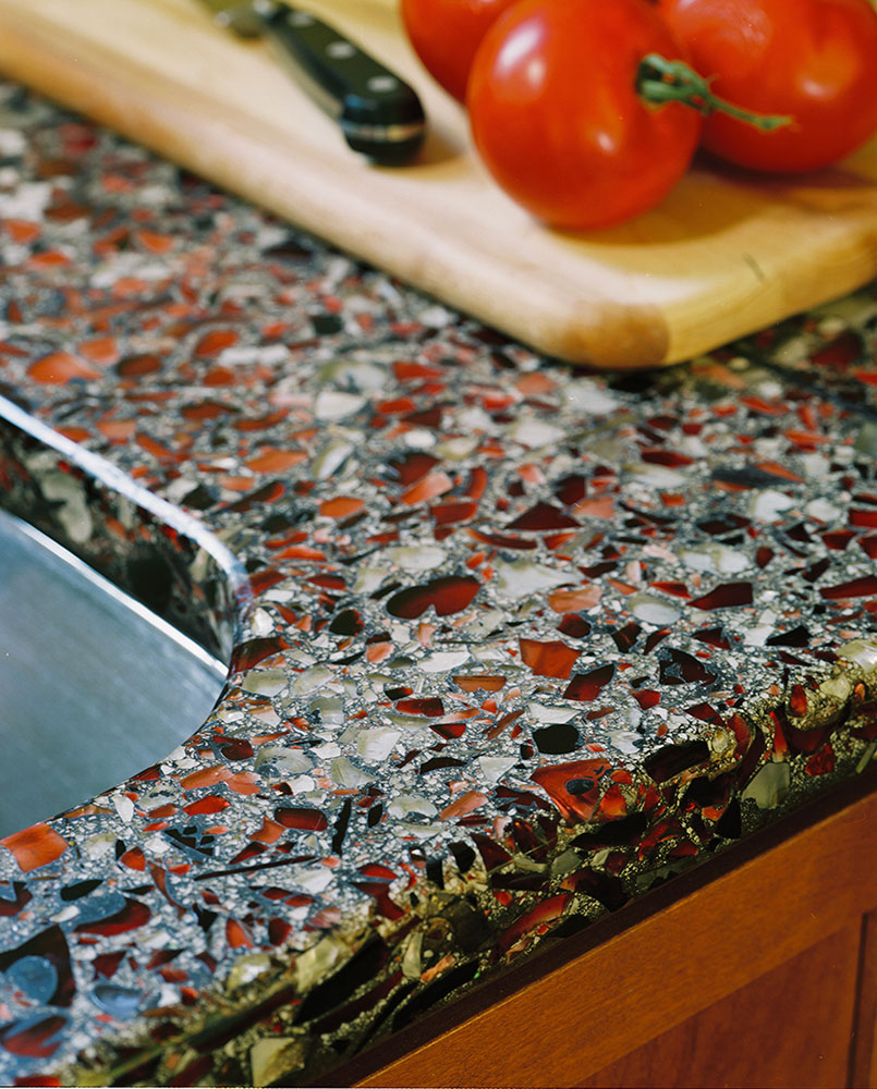 Recycled Glass Kitchen Countertops Vetrazzo crushed glass set in concrete countertop | Photo Source:  caddomineral.com