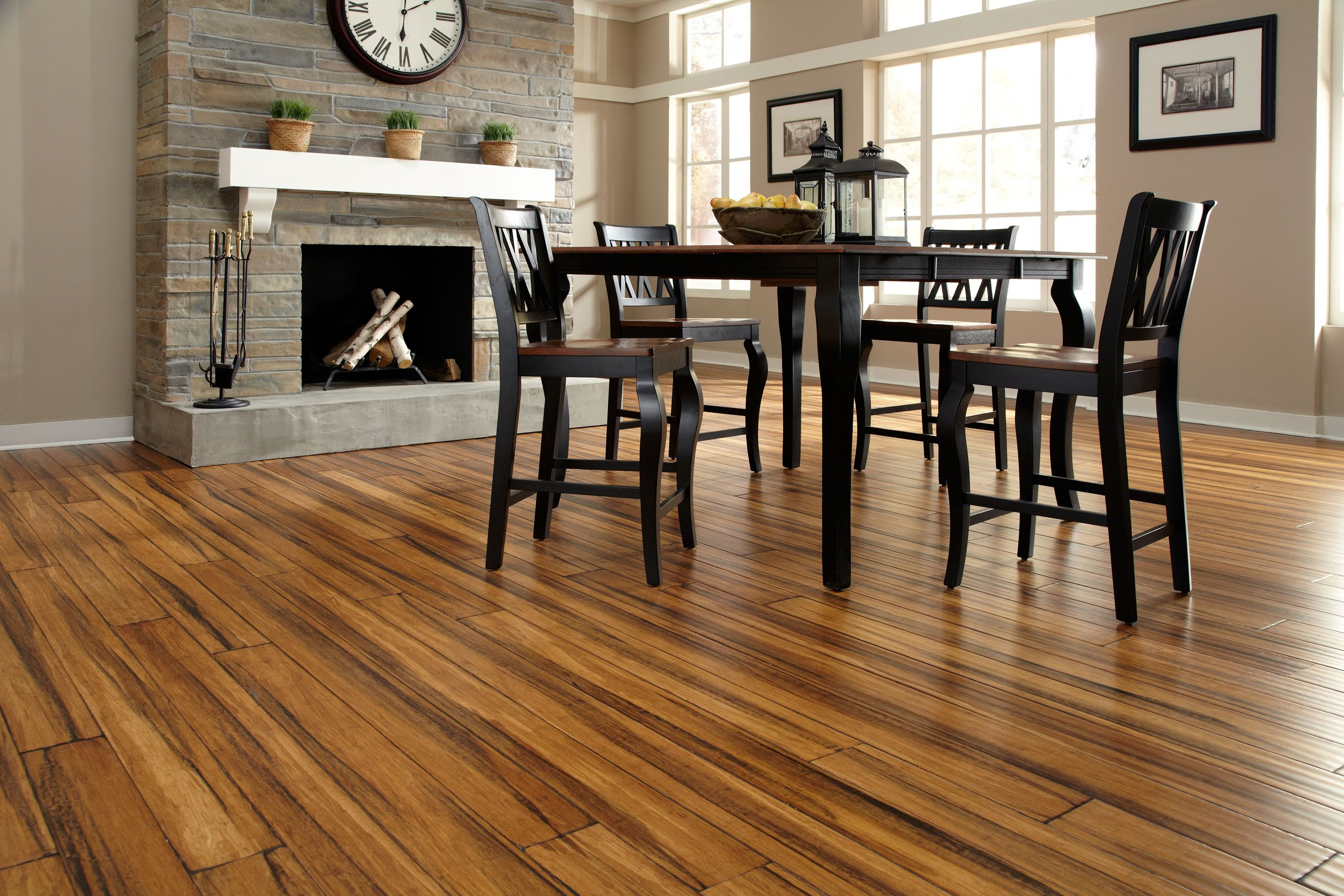 Bamboo flooring with dark grains | Photo Source: Lumber Liquidators