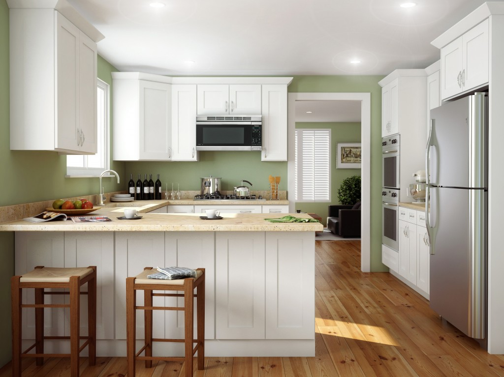 Simple Shaker-style kitchen with a contemporary twist. Featuring our Ice White Shaker kitchen cabinets.