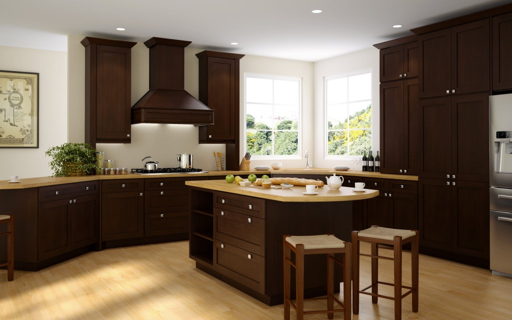 This contemporary twist on a Shaker style kitchen features the elegant dark stain of the Pepper Shaker door style.