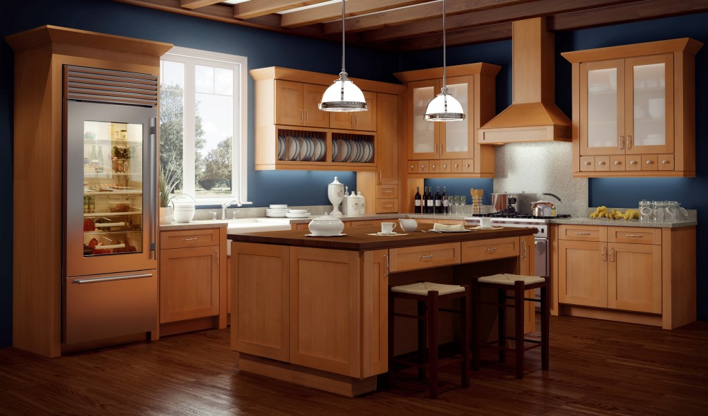 Shaker style kitchen featuring the natural wood grain of the Shakertown door style.