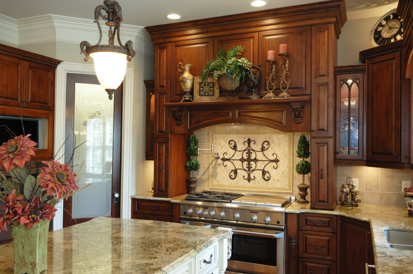 How to create an old world kitchen with stock cabinets for Old world style kitchen