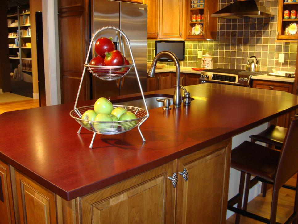 Paperstone composite paper countertop in Cabernet | Photo Source: HGTV