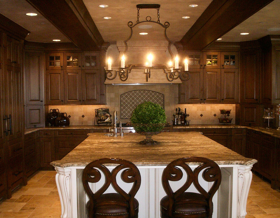 two toned old world kitchen featuring stone countertops wrought iron chandelier and other - Old World Kitchen Cabinets
