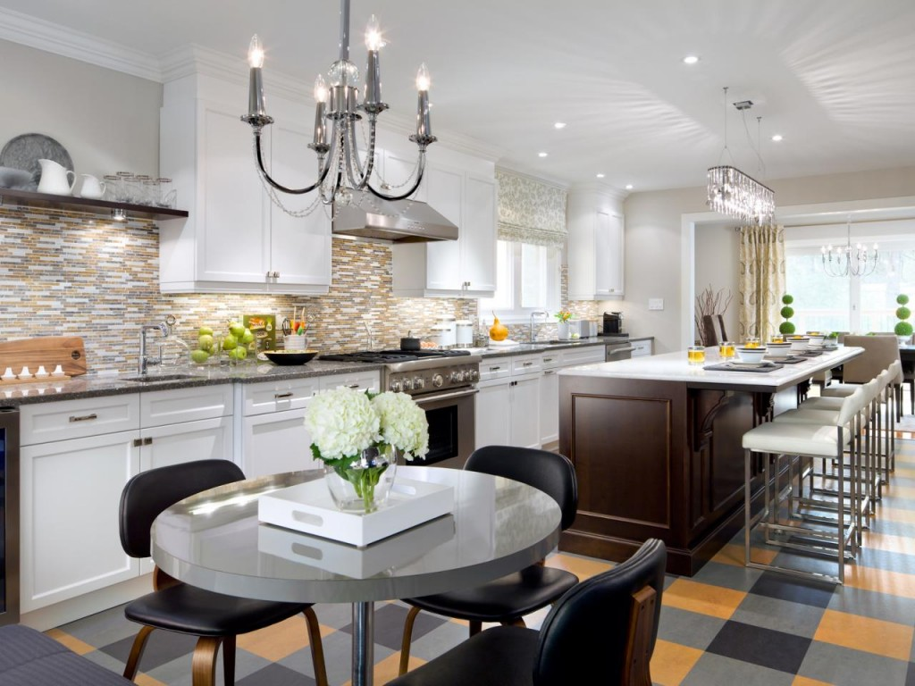 Contemporary two-tone galley kitchen with island run. | Photo Source: HGTV