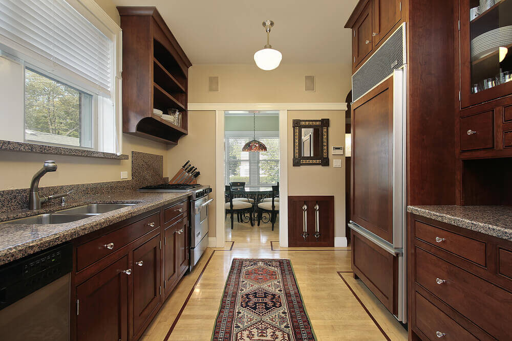 Captivating Asymmetrical Corridor Style Galley Kitchen. | Photo Source:  Homestratosphere.com Design Inspirations
