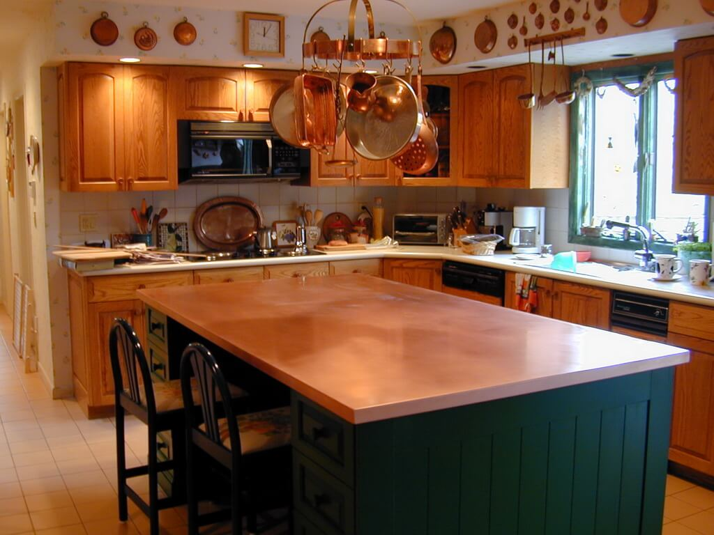 Copper Kitchen Countertops. Photo Source: Brooks Custom