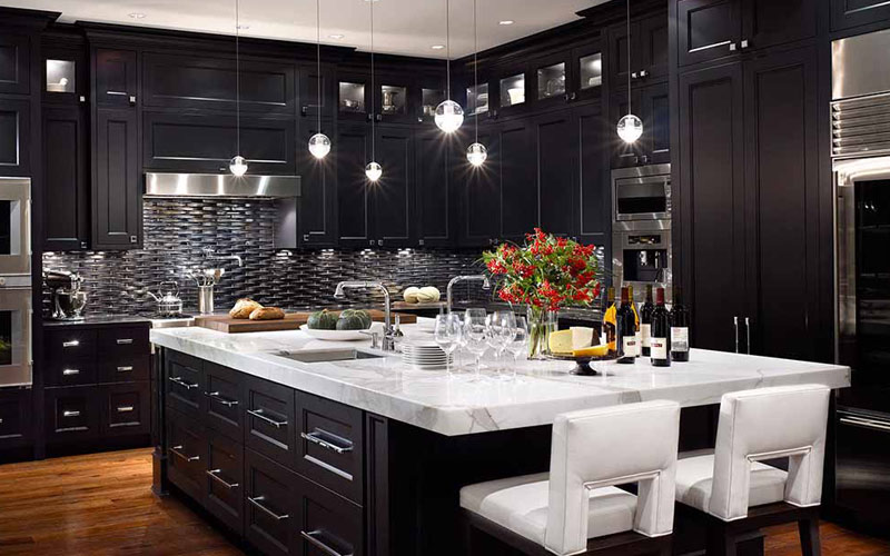 dark dramatic kitchens