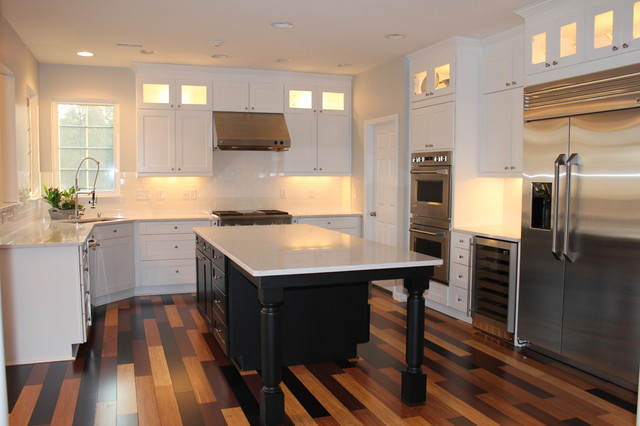 Bamboo Flooring Marvelous White Kitchen With Black Island Multi Colored