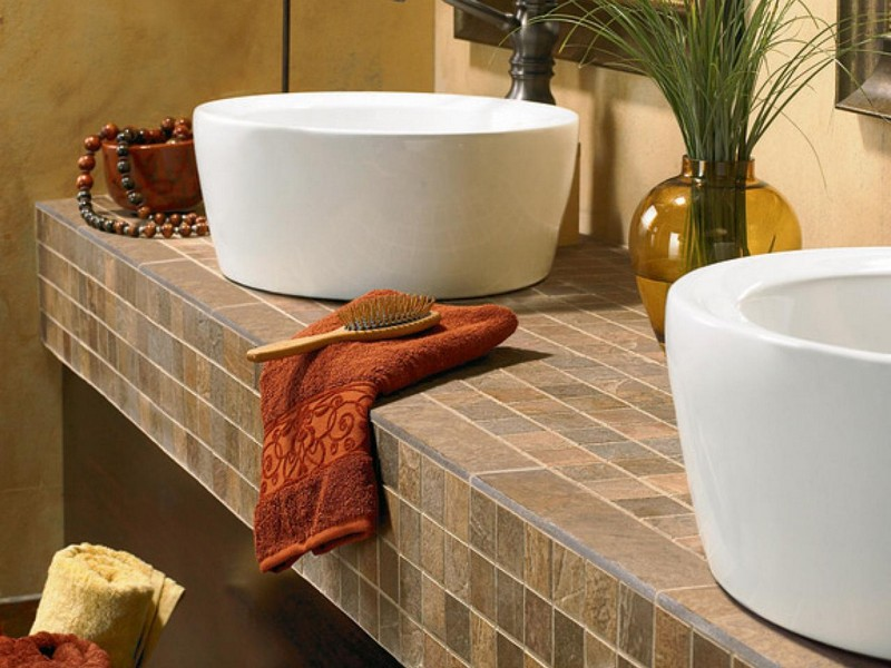5 best bathroom vanity countertop options for Tile countertops bathroom ideas