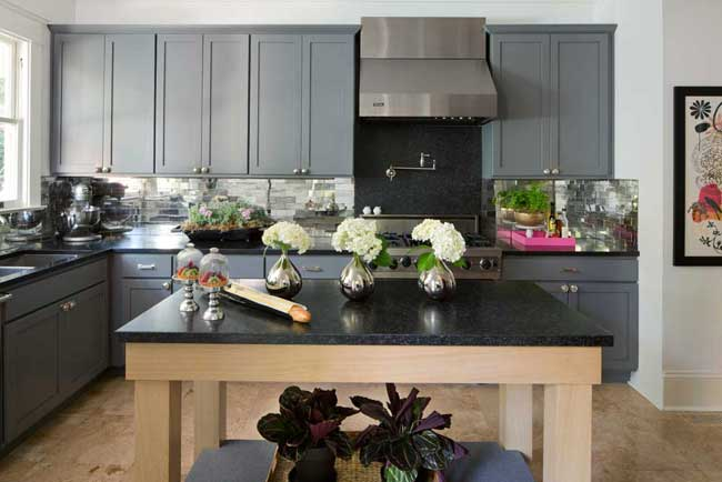 Gray Kitchen Cabinets U0026 Black Countertops