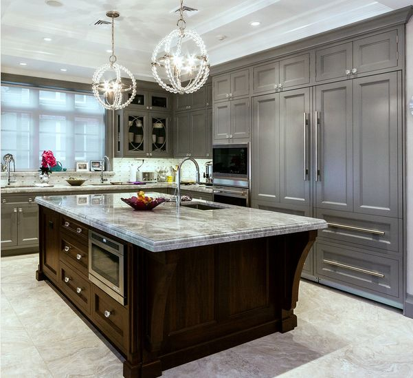Countertop Ideas For Gray Kitchen Cabinets - Gray cabinets with marble countertops