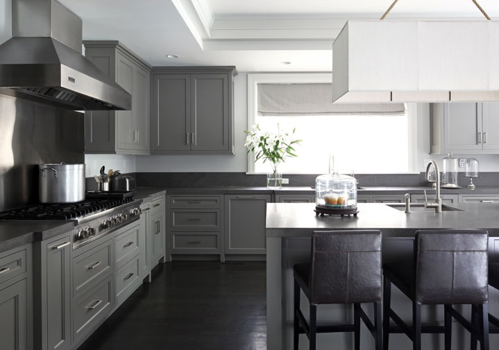 Gray And Gray Concrete : Countertop ideas for gray kitchen cabinets