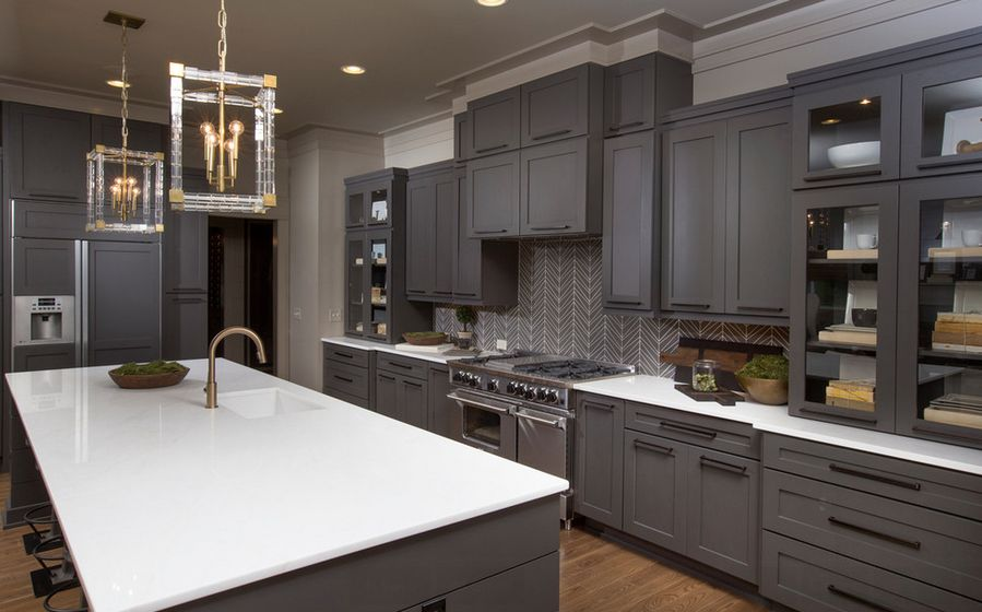 Nice Gray Kitchen Cabinets U0026 White Countertops