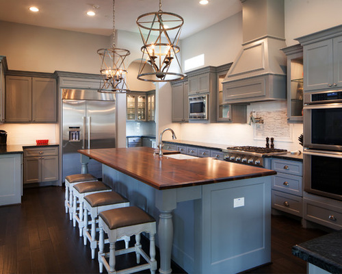 Gray Kitchen Cabinets With Stainless Steel Appliances Pine Walls