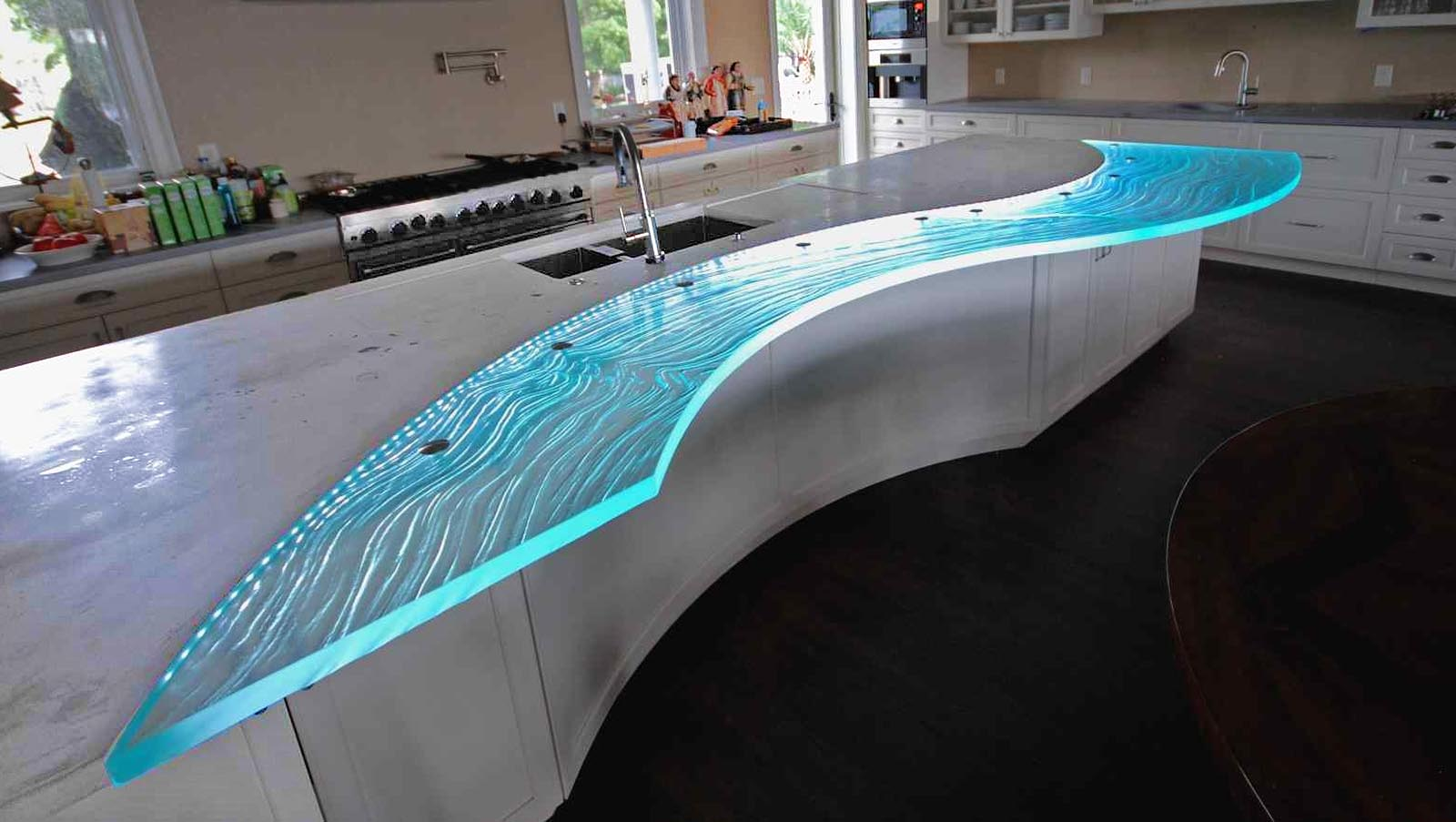 Gl Countertop Overhang With Led Lights Photo Source Downingdesigns