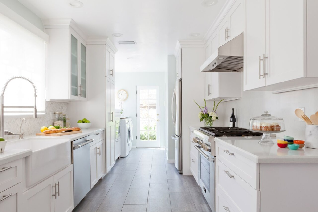 All White Galley Kitchen Photo Source Homedreamy