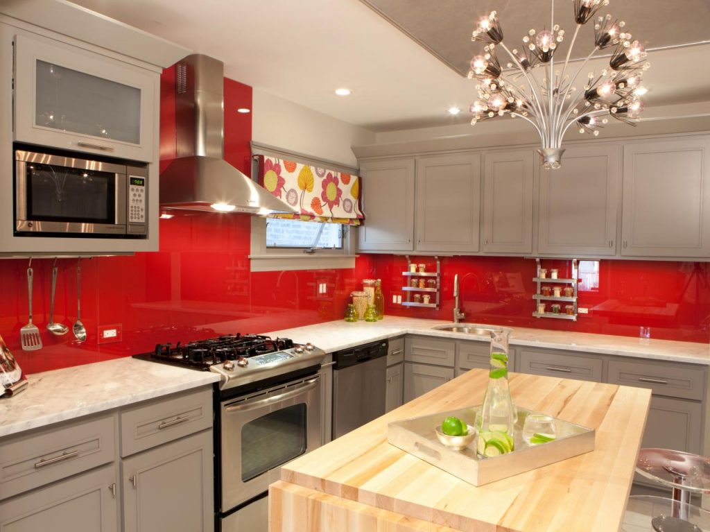 Light Gray Cabinets Bold Colorful Backsplash