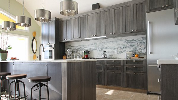 Gray Kitchen Cabinets Marble Backsplash