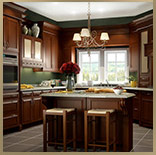 kitchen cabinets, cinnamon glaze